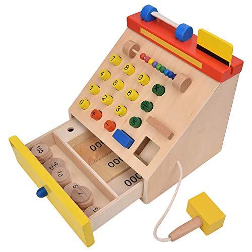 Kassa Speelspeelgoed, houten kinderen Simulatie met speelgeld voor kinderen ouder dan 3 jaar Supermarkt Kassa Speelhuisspeelgoed