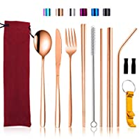 トラベルシルバーウェアセット ケース付き 再利用可能なキャンプ用食卓用具セット ポータブルステンレススチールカトラリーセット ナイフフォーク スプーン 箸 ゴールド Rose Gold-b