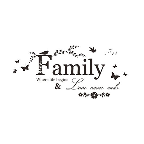 WINOMO - Adhesivo Decorativo para Pared, diseño con Frase en inglés Family Where Life Begins (20 x 57 cm)