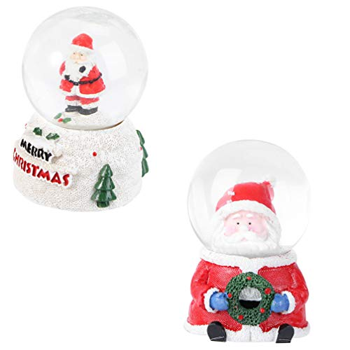 TOYANDONA 2Pcs Weihnachten Schneekugel Leuchten Santa Kristallkugel Tischplatte Figur Ball Dekoration für Weihnachten Desktop Glaskugel Sammler Dekor