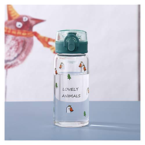 PENGYMY Taza de Agua Botella de Agua de Cristal Linda de la Bebida de la Historieta de Kawaii para los niños/Las Muchachas Taza de Agua a Prueba de Fugas para la Escuela Botellas al Aire Libre