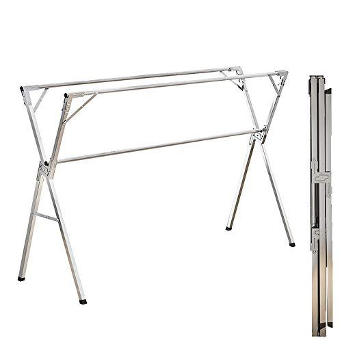 Wg 物干し 布団干し 室内 伸縮 ステンレス 簡単組立 折りたたみ ふとん干し 室内物干し 物干しスタンド 物干し竿 ダブルバー おしゃれ 耐荷重80kg