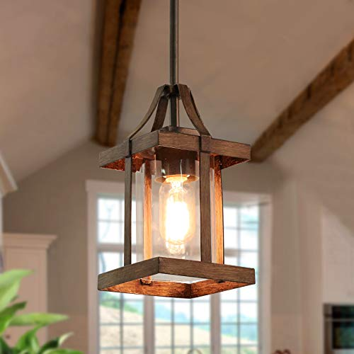 LNC A03408 Faux-Wood Pendant Lighting Farmhouse Hanging Fixture with Glass Shades for Kitchen Island, Bedroom, Dining Room, Hallway and Foyer, Brown