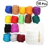 BESTOMZ Kit Agujas de Fieltro 16 Colores Hilo de Lana de Fieltro Herramientas Fieltrar de Madera Protector Dedos para Afieltrar Manualidades Bricolaje (Colores aleatorios de 10 g cada uno)