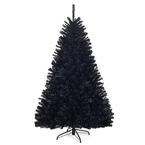 COSTWAY Albero Artificiale di Natale e Halloween, Base di Metallo, in PVC, Nero (180x Ø112cm)