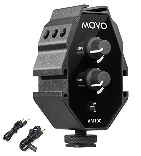 Movo AM100 2-Channel Microphone Audio Mixer 3.5mm TRS Compatible with DSLR Cameras and Smartphones