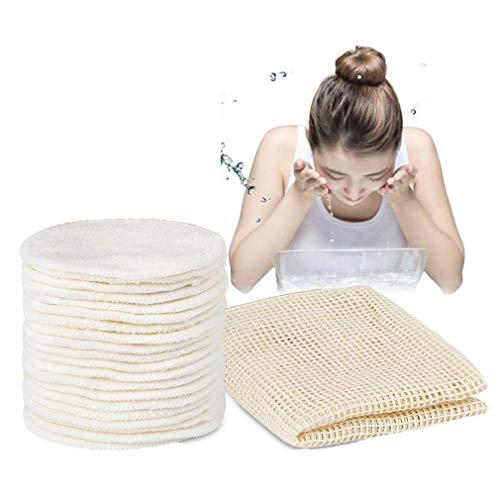 Tampons démaquillants réutilisables, Kemxing 20pcs rondes de fibre de bambou pour tous les types de peau Tampons nettoyants pour le visage lavables pour le maquillage des yeux avec un sac à linge