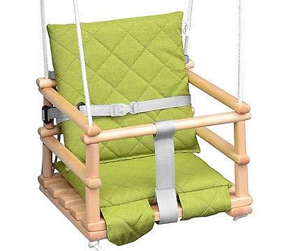 Kinderschaukel Babyschaukel Holz Babywippe Zimmerschaukel Indoor Baby Schaukel Stoff Babysitz Baby Schaukel zum Aufhängen 4 in 1 (Natural/Grün)