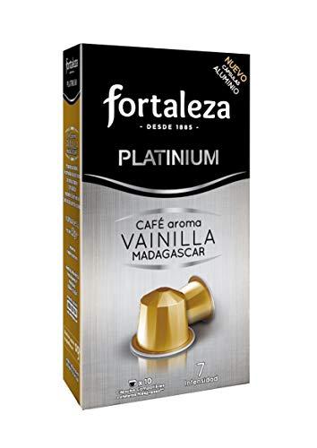 Café Fortaleza Platinium – Cápsulas Compatibles con Nespresso, de Aluminio, Café con Aroma Vainilla Madagascar, 100% Arábica, Tueste Natural, Pack 5x10 - Total 50 uds