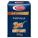 Barilla Integrale - Farfalle à la semoule de blé dur complet source naturelle de fibres - 500 g