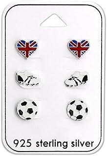 925 Sterling Silver (SET OF 3) British Soccer Stud Earrings 28480