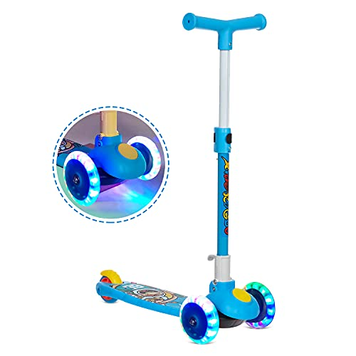 NHR Smart Kick Scooter, 3 Adjustable Height, Foldable,Front Wheel Light & PVC Wheels for Kids (3 to 8 Years ,Blue)
