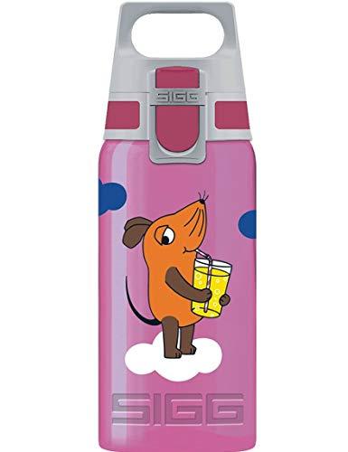 SIGG VIVA ONE Maus Berry Kinder Trinkflasche (0.5 L), schadstofffreie Kinderflasche mit sicherem Deckel, einhändig bedienbare Trinkflasche für Kinder