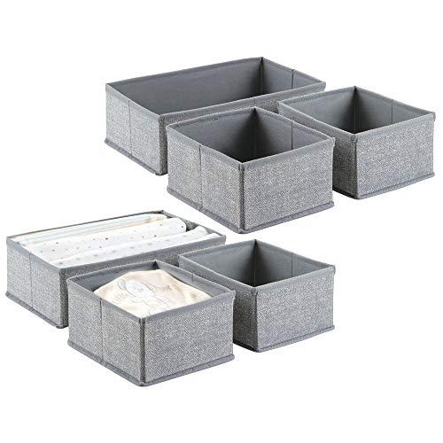 mDesign Babywickeltisch-Organizer für Kleidung, Mützen, Windeln - 6 Organizer in zwei Größen – Universelle Aufbewahrungsbox – Grau