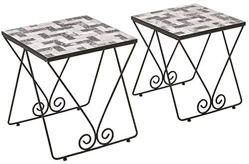 Dehner Mosaik-Beistelltisch-Set Letizia, 2-teilig, Höhe 51 cm / 56 cm, Eisen/Stein, grau/weiß