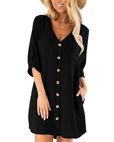 CNFIO Damen Blusekleider Elegant Minikleider Sommerkleid mit Taschen V-Ausschinitt 1/2 Ärmel Kleider D-Schwarz EU46