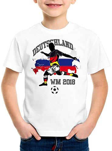style3 WM 2018 Deutschland Kinder T-Shirt Fußball Weltmeisterschaft Trikot Germany, Farbe:Weiß, Größe:116