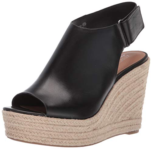 Aerosoles Women's Martha Stewart Hillside Wedge Sandal, Black Leather, 9.5 M US