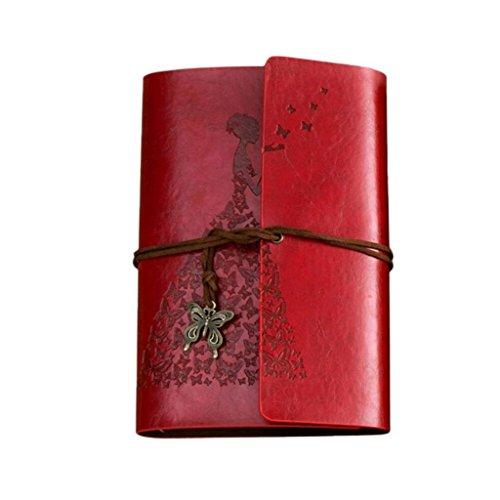 Diario de Viaje, K-youth® Bloc de Notas Cuaderno de Cuero Retro Libreta Originales de Navidad San Valentín Cumpleaños Aniversario Boda Mujer (Rojo)