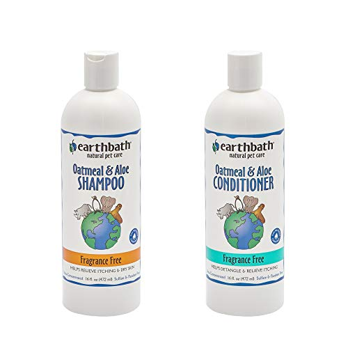 Earthbath Oatmeal & Aloe Pet Grooming Bundle - All-Natural Fragrance-Free Shampoo and Conditioner - Itchy & Dry Skin Relief, Helps Detangle, Aloe Vera, Vitamin E, Good for Dogs & Cats - 16 fl. oz Each