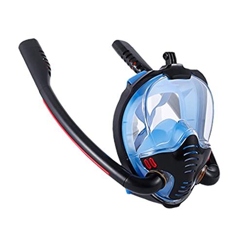 PJRYC Máscara para Hombre y Mujeres Adultas Doble respiración del Tubo de respiración de Silicona Máscara de Snorkeling Completo de Silicona Equipo de Buceo (Color : Blue, tamaño : S/M)