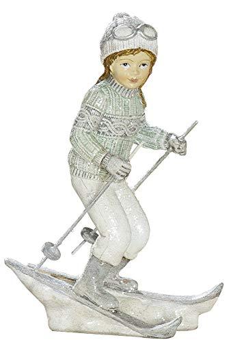 dekojohnson Winterkind Dekofigur Mädchen mit Ski Nostalgie Deko weiß grau Weihnachtsdeko für Innen 8x14cm Groß
