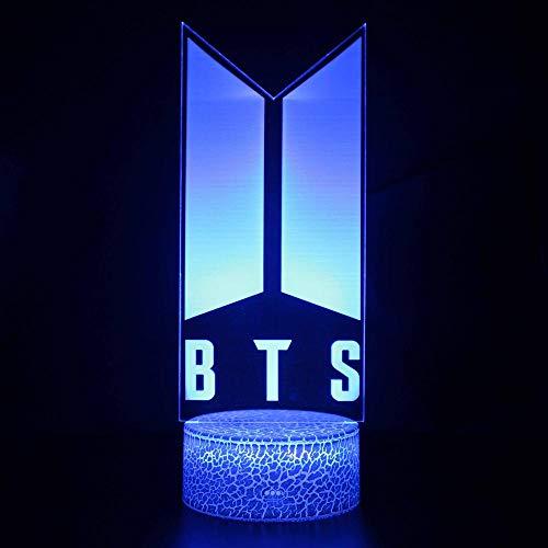 BTS 3D lámpara de ilusión óptica 16 luces cambiantes de color con acrílico plano y base ABS y cargador USB como decoración del hogar y un mejor regalo