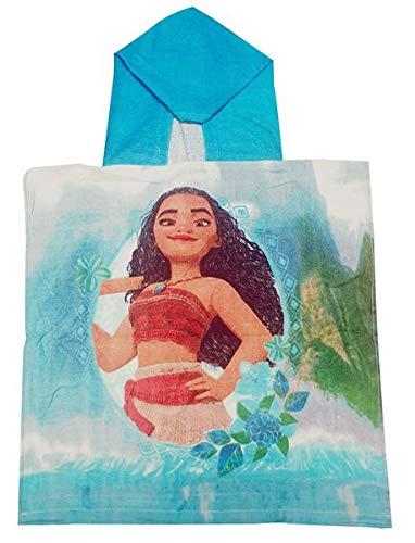 Vaiana Disney badponcho met bloemenpatroon voor kinderen, meisjes, poncho van 100% katoen