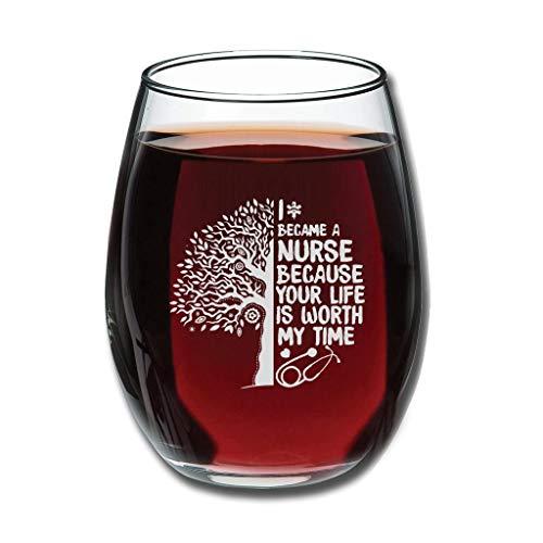 """Bohohobo Libbey Stielloses Weinglas mit Aufschrift """"I Became A Nurse"""", 350 ml, Weinglas für Rot- und Weißwein, spülmaschinenfest, herzwärmendes Geschenk für Familie, weiß"""