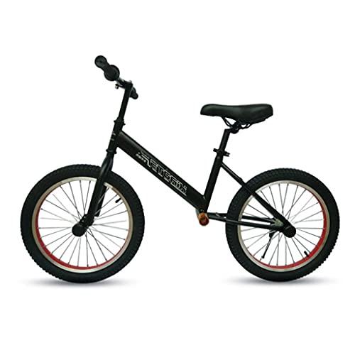 Bicicleta Sin Pedales Bicicleta de balance grande de 18 pulgadas con neumáticos de aire, bicicleta de entrenamiento negro portátil de no pedal, asiento ajustable y reposapiés, para niños grandes / adu