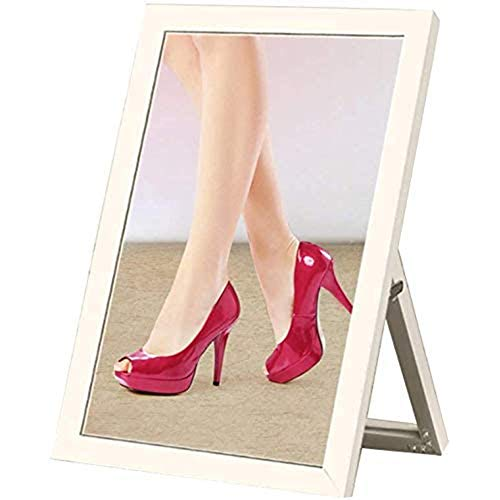 YCX Schuhgeschäft Versuchen Schuhe Spiegel Tragen,Standfuß Mit Schuhspiegel Bordüre Silberspiegel Bekleidungsgeschäft,Weiß
