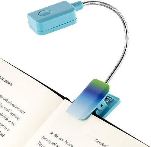 Com clipe de luz de livro de bull francês – Ombre – Luz de leitura de LED quadrada para livros e eBooks, brilho reduzido, portátil e leve, luz de marcador de livro fofo para crianças e adultos, pilhas incluídas