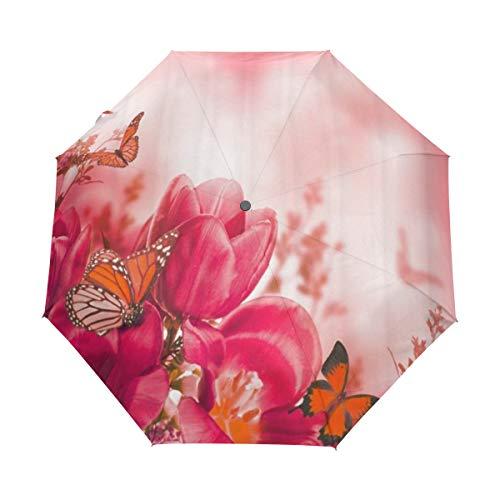 DUILLY Automatischer Regenschirm zum Öffnen/Schließen,Blumen-Alpenveilchen-Blumen-und Schmetterlings-helle Farbe,Winddichter,Leichter,kompakter,zusammenklappbarer Kleiner Sonnenschirm