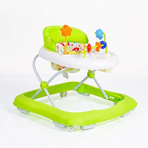 girello, deambulatore, ausilio alla deambulazione Eko regolabile in altezza, sedile imbottito e centro giochi, colorazione:verde