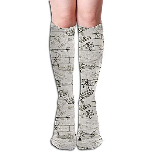 Noodtoepassing Oudmodieuze vliegtuig in de hand getekende kunst vrouwen lange sokken compressiekousen Athletic Socks Tube Socks 50cm