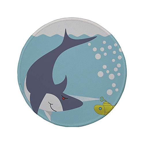 Alfombrilla de ratón Redonda de Goma Antideslizante Submarino Amarillo tiburón con Barco en el océano Burbujas bajo el mar Animales de Dibujos Animados Azul Gris Amarillo 7.9