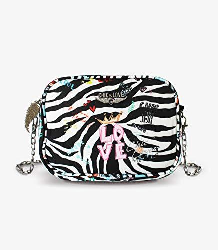 CYP BRANDS Fashion handtas Chic & Love Zebra' stof en strandtas, 40 cm, meerkleurig
