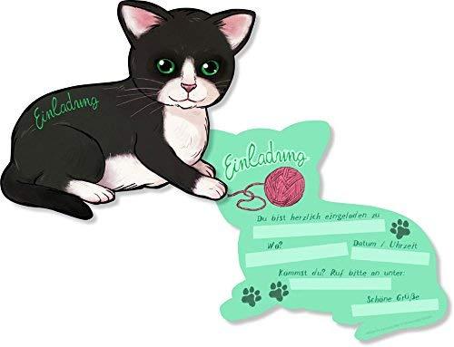 DH-Konzept 6 Einladungskarten * SÜSSE Katzen * in Katzenform gestanzt für einen Kindergeburtstag oder Party Kinder Geburtstag Party Einladung Einladungen Karten Mottoparty Cat Katze