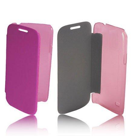 Compatibile Custodia Flip Orizzontale Pelle per Nokia Lumia 820 Colore Rosa con Parte Posteriore Rigida Trasparente