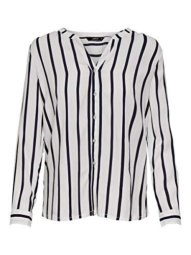 Only Onlsugar Fallow L/s Shirt Noos Wvn Blusa, Cloud Dancer/Stripes:Night Sky, 40 (Talla del Fabricante: 38) para Mujer