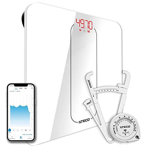 ILTECO Bascula de Baño Inteligente, Bascula de precision digital con Tecnologia Bluetooth conexión Android e iOS, Pantalla LCD, Tecnologia Handsfree | Color Blanco