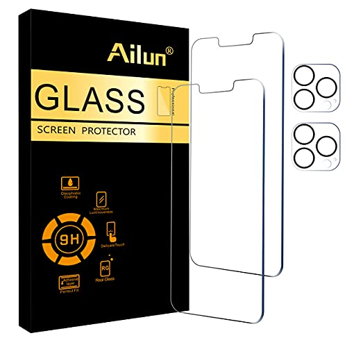 Ailun 2Pack Screen Protector Compatible for iPhone 13 Pro [6.1 inch] Display 2021 + 2 Pack Camera Lens Protector,Tempered Glass Film,[9H Hardness] - HD [Not for iPhone 13 Pro Max]