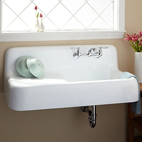 "Signature Hardware 349614 42-1/8"" Wall Mounted Single Basin Cast Iron Kitchen Sink"