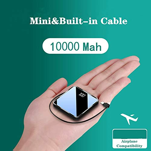 Powerbank,mini size power bank10000mah Tragbares Externer Akku Pack Eingebaute Ladekabel Kompatibel mit iPhone XR/8/7, iPad Pro/2018,Samsung Galaxy S10/S9,Huawei P20/P30