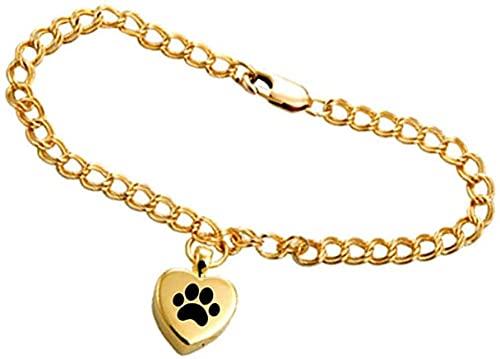 qiangloushui Collar Corazón Grabado Mascota Pata Urna Pulsera Encantos del Corazón Cenizas Conmemorativas Urna Pulsera Joyería Haciendo Recuerdo