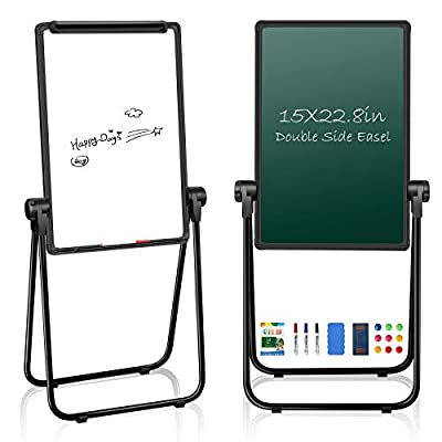 """JOYOOSS 15"""" x 22.8"""" U-Stand Whiteboard Portable Magnetic Easel Dry Erase Board Height Adjustable Rotating Foldable & 360° Rotating Flipchart Easel for Home Office School Outdoor (Black)"""