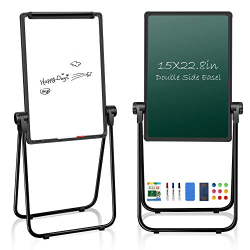 """JOYOOSS 15"""" x 22.8"""" U-Stand Whiteboard Portable Magnetic Easel Dry Erase Board with Stand Height Adjustable Rotating Foldable & 360° Rotating Flipchart Easel for Home School Outdoor (Black)"""