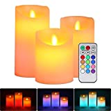 ALED LIGHT Candele LED Senza Fiamma Set Luci, Bianco Caldo Multicolor Real Wax Pilastro Luce Pile Elettrico Wick Flickering Candle Lights con Timer Telecomando per Natale Feste Decorazione Matrimonio