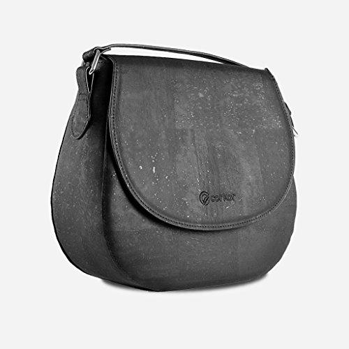 Corkor Veganer Schultertasche Böhmischen Umhängetasche Damen Geldbeutel Handtasche Natur-Leder Natur - Saddle Bag - Beuteltasche aus Veganem Leder Schwarz - 3