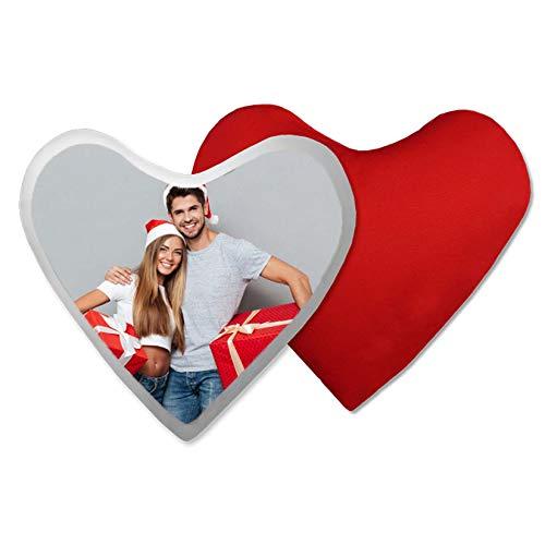 Interesting You Almohada con Foto En Forma De Corazón Foto Personalizada De Doble Cara Almohada Roja con Forma De Corazón Personalizada Regalo De Cumpleaños del Día De San Valentín De Navidad